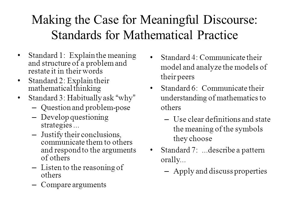 Making the Case for Meaningful Discourse: Standards for Mathematical Practice