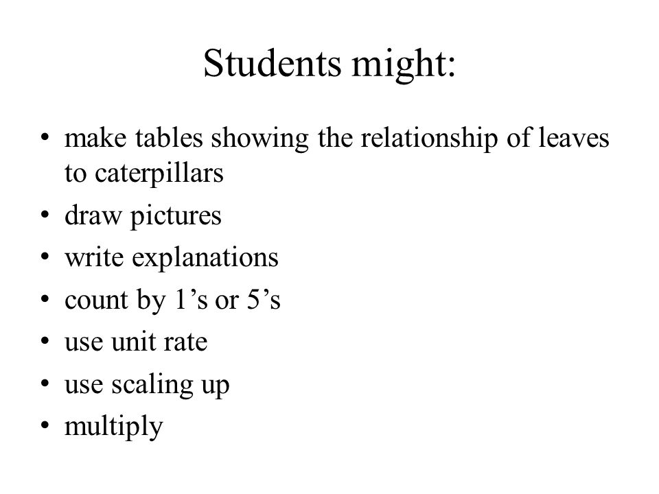 Students might: make tables showing the relationship of leaves to caterpillars. draw pictures. write explanations.