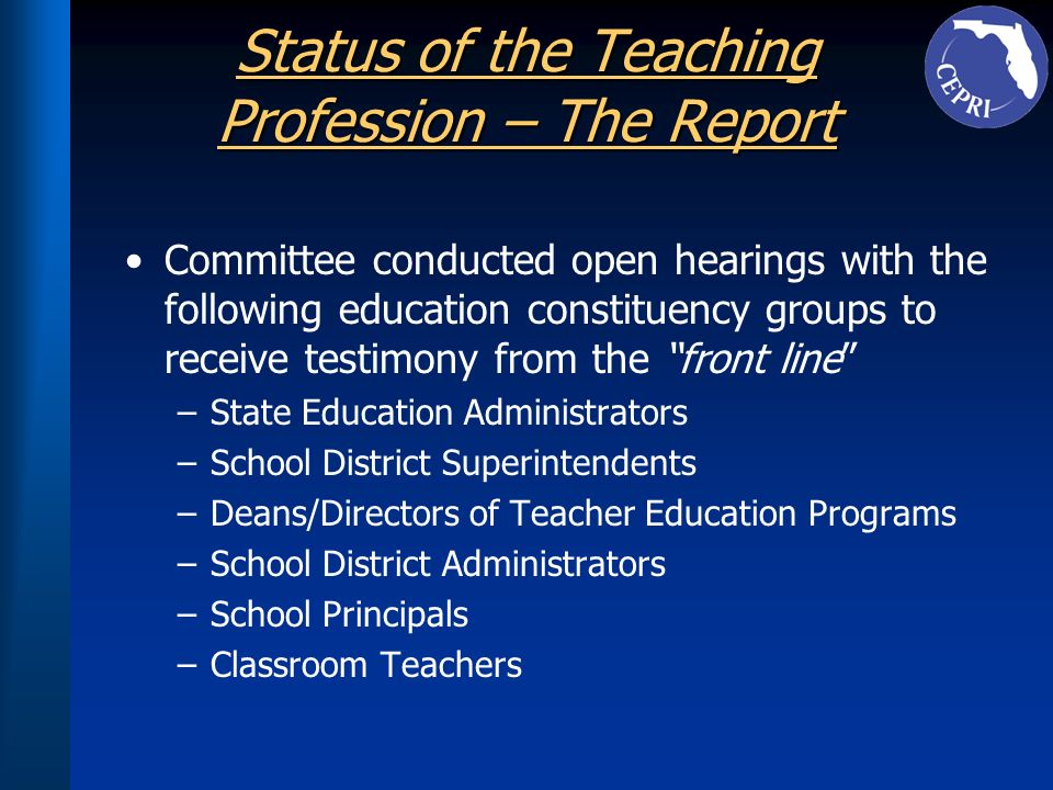 Status of the Teaching Profession – The Report