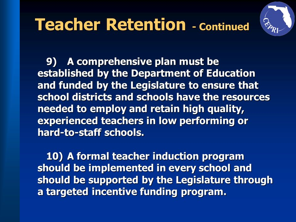 Teacher Retention - Continued