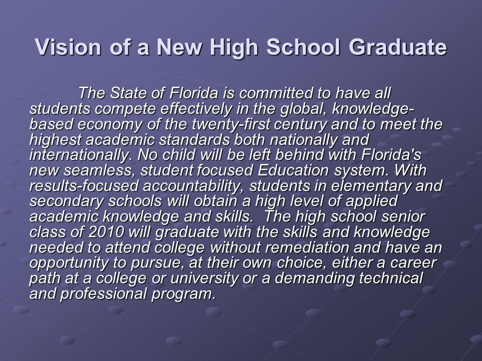 Vision of a New High School Graduate