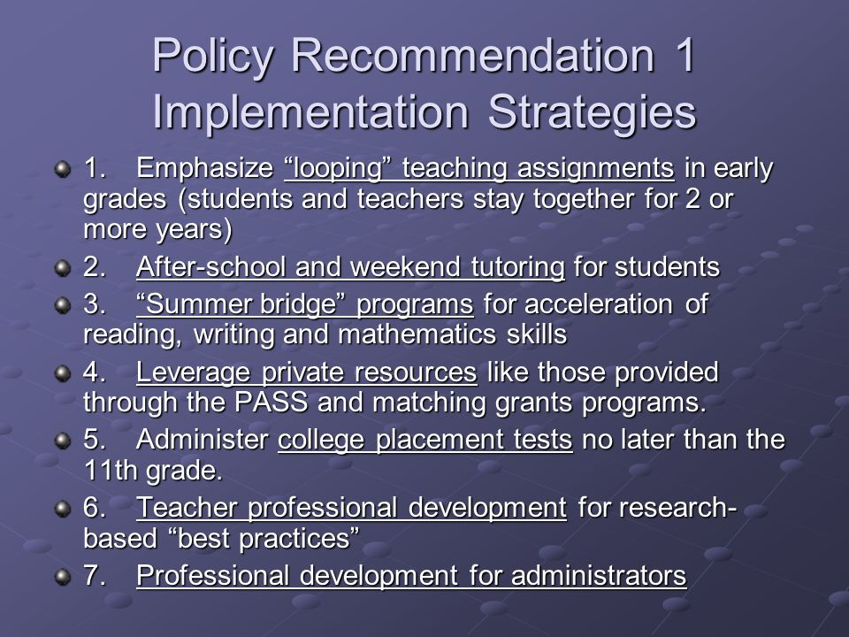 Policy Recommendation 1 Implementation Strategies