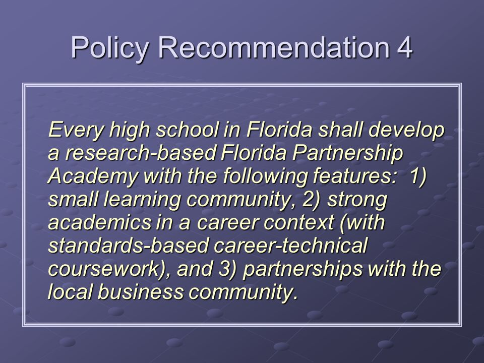 Policy Recommendation 4