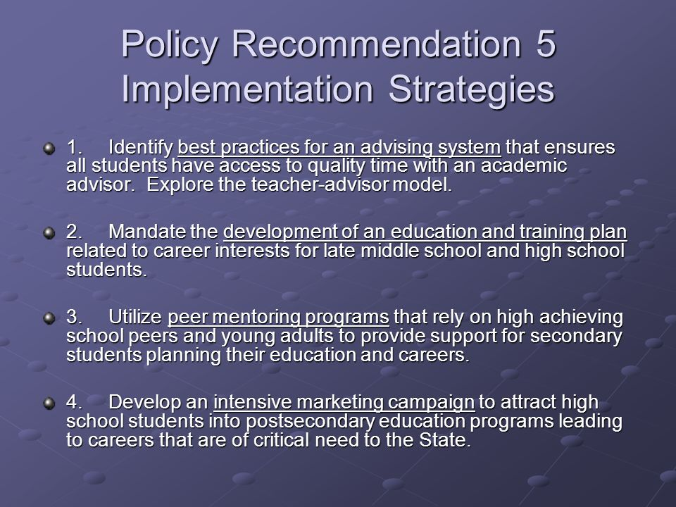 Policy Recommendation 5 Implementation Strategies