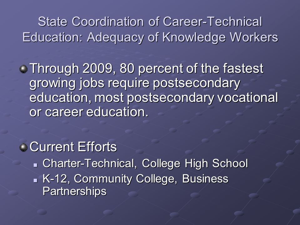 State Coordination of Career-Technical Education: Adequacy of Knowledge Workers