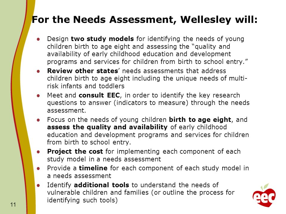 For the Needs Assessment, Wellesley will: