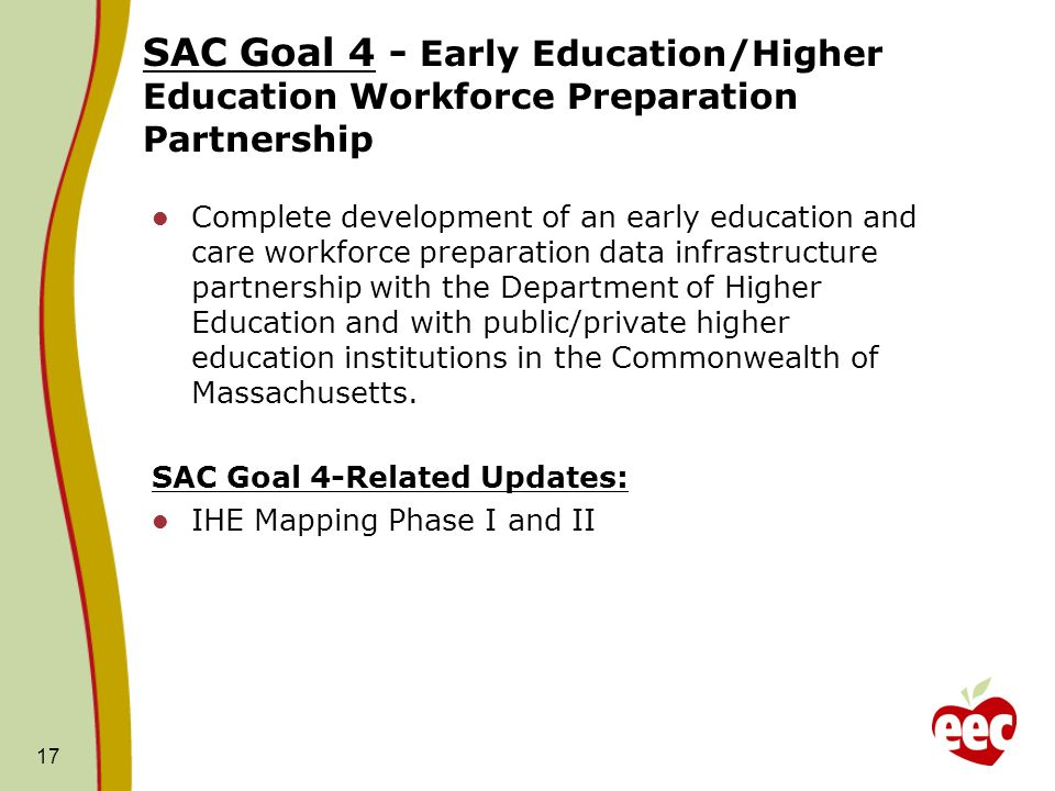 SAC Goal 4 - Early Education/Higher Education Workforce Preparation Partnership