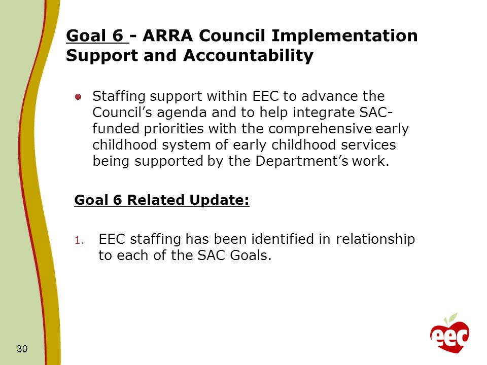 Goal 6 - ARRA Council Implementation Support and Accountability