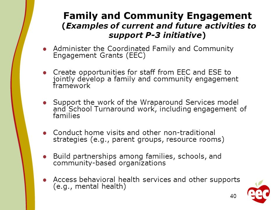 Family and Community Engagement (Examples of current and future activities to support P-3 initiative)