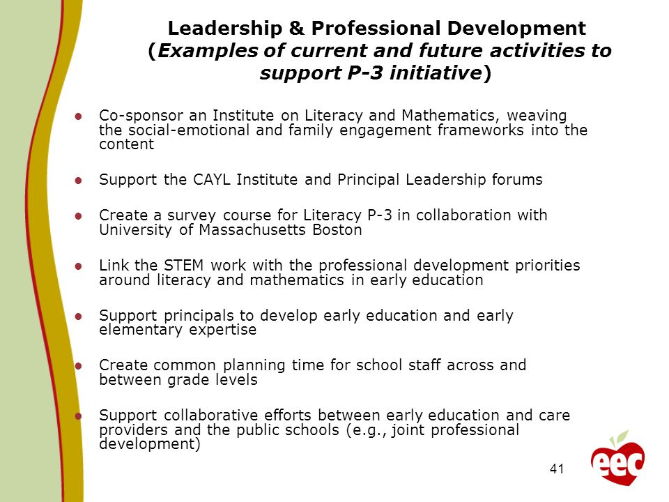 Leadership & Professional Development (Examples of current and future activities to support P-3 initiative)