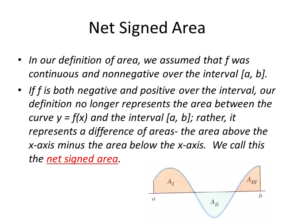 Net Signed Area In our definition of area, we assumed that f was continuous and nonnegative over the interval [a, b].