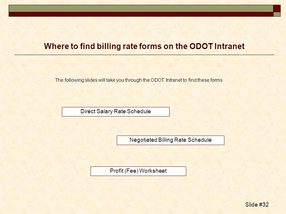Where to find billing rate forms on the ODOT Intranet