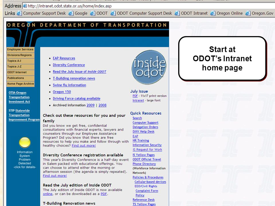 Start at ODOT's Intranet home page