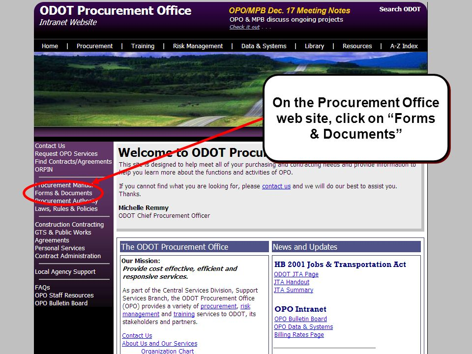 On the Procurement Office web site, click on Forms & Documents