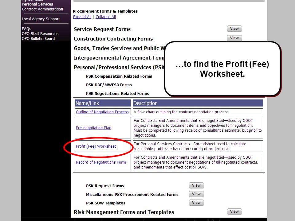 …to find the Profit (Fee) Worksheet.