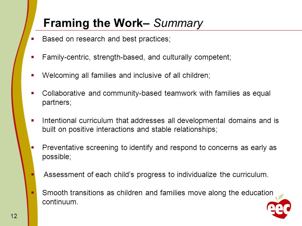 Framing the Work– Summary