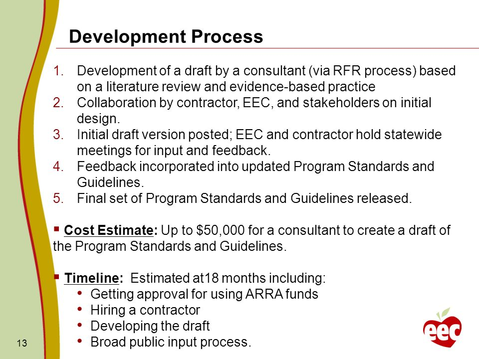 Development Process Development of a draft by a consultant (via RFR process) based on a literature review and evidence-based practice.