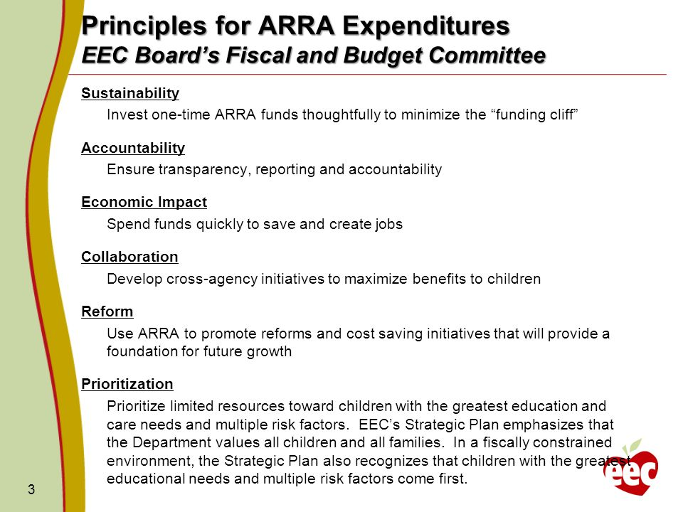 Principles for ARRA Expenditures EEC Board's Fiscal and Budget Committee