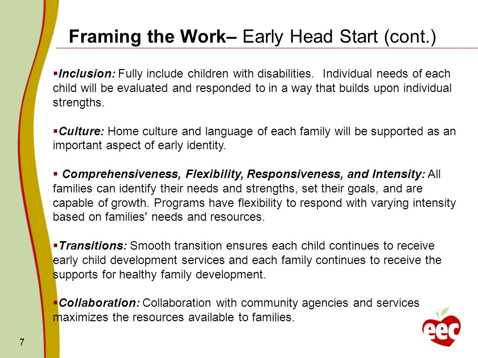 Framing the Work– Early Head Start (cont.)