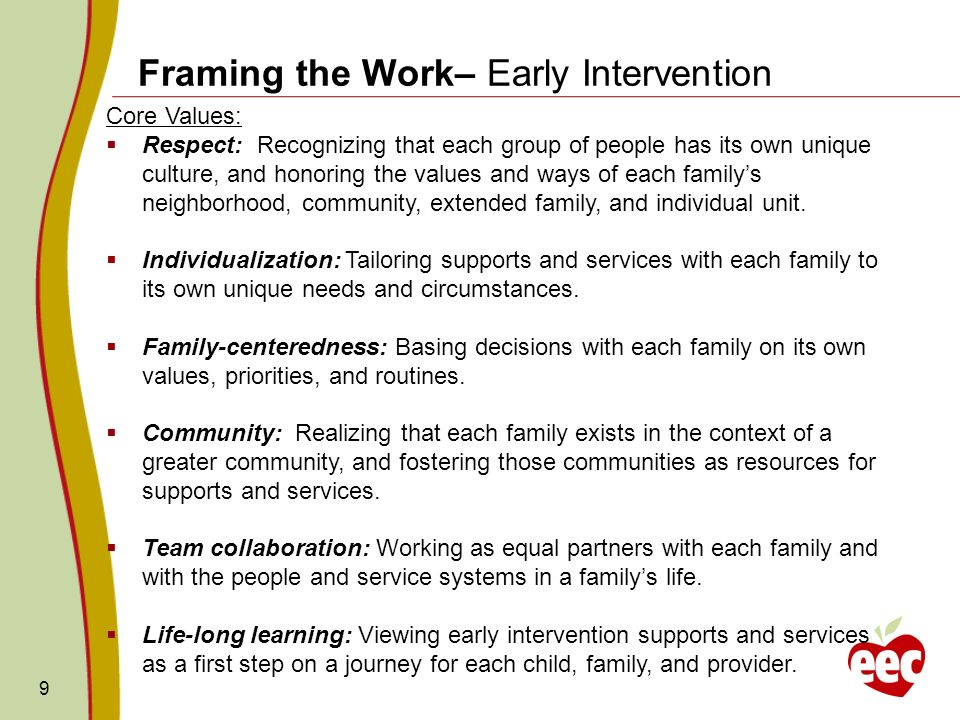 Framing the Work– Early Intervention