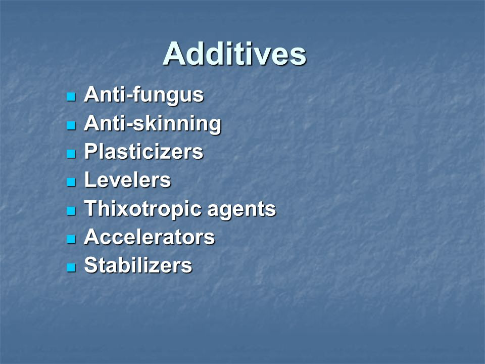 Additives Anti-fungus Anti-skinning Plasticizers Levelers