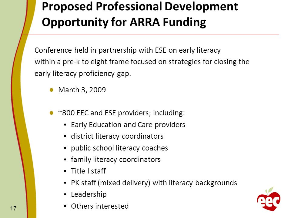 Proposed Professional Development Opportunity for ARRA Funding