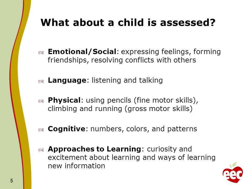 What about a child is assessed