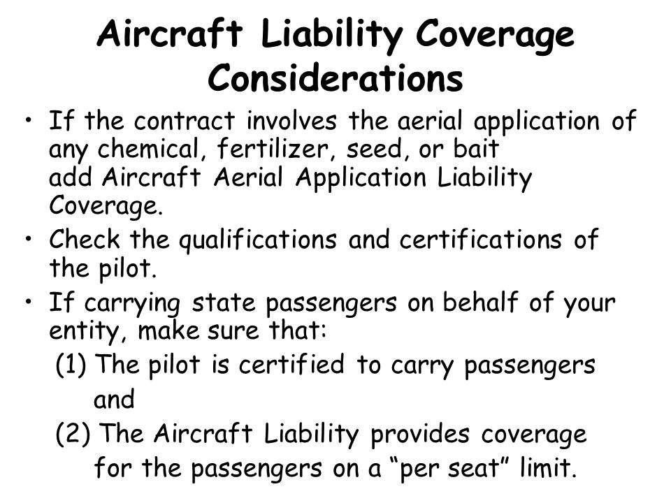 Aircraft Liability Coverage Considerations