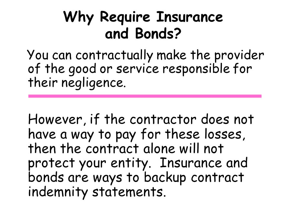Why Require Insurance and Bonds