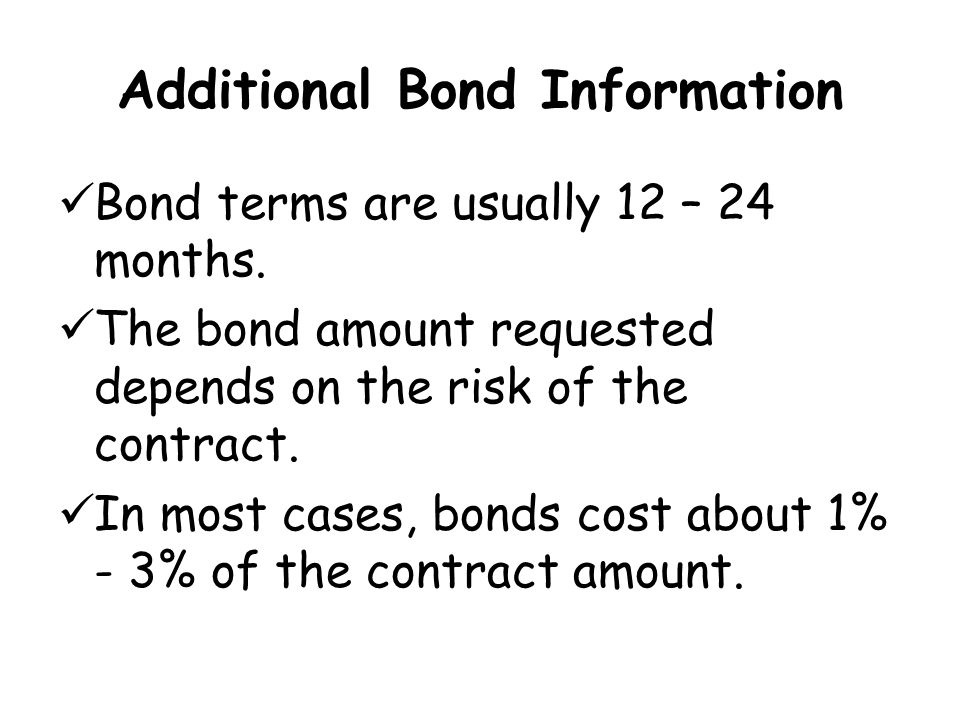 Additional Bond Information