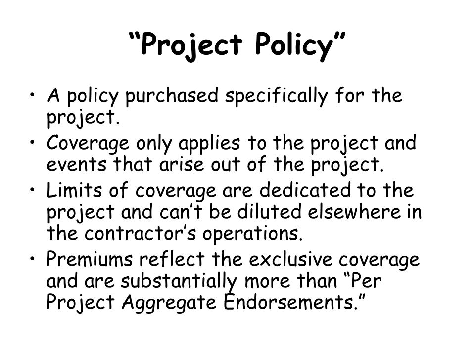 Project Policy A policy purchased specifically for the project.