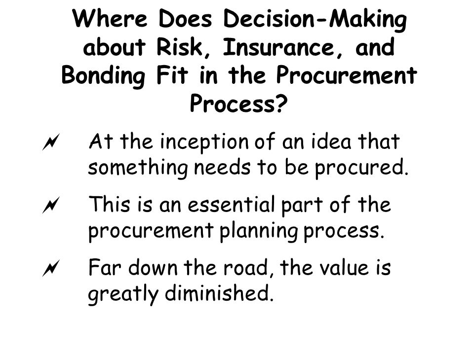Where Does Decision-Making about Risk, Insurance, and Bonding Fit in the Procurement Process