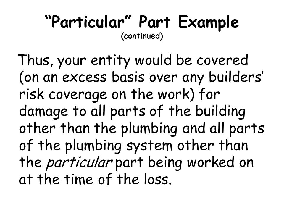 Particular Part Example (continued)
