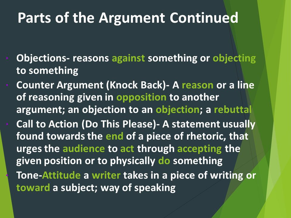 Parts of the Argument Continued