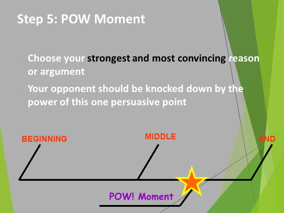 Step 5: POW Moment Choose your strongest and most convincing reason or argument.