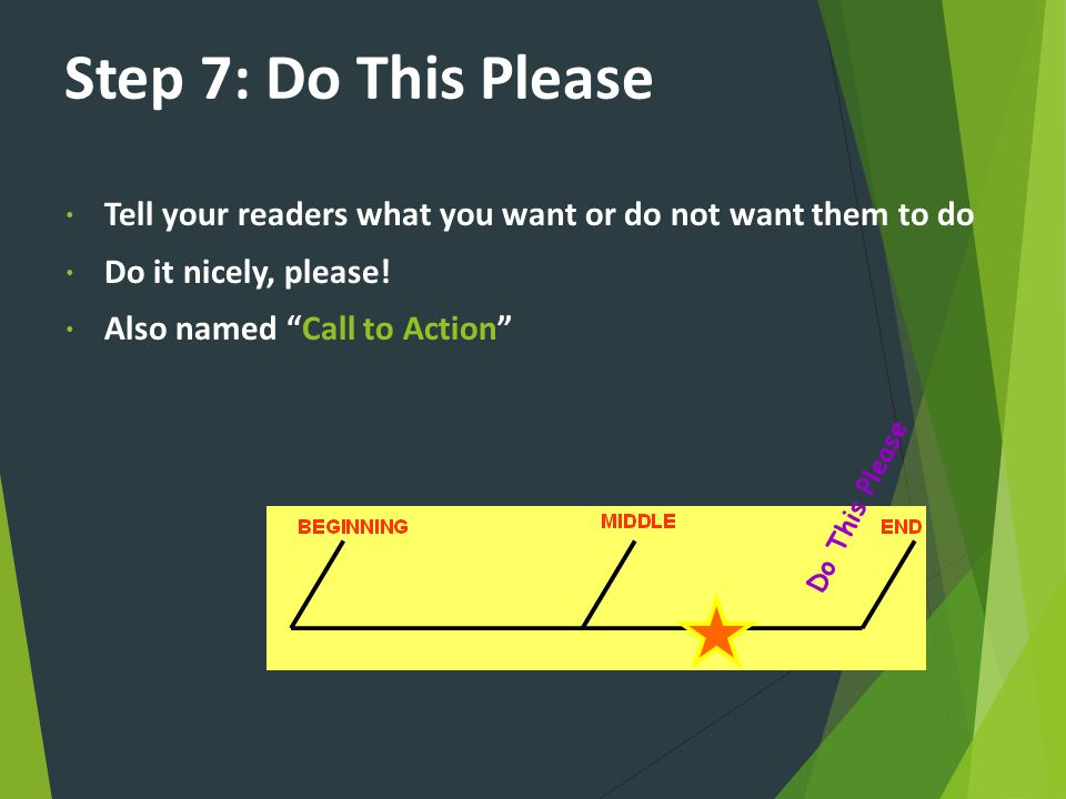 Step 7: Do This Please Tell your readers what you want or do not want them to do. Do it nicely, please!