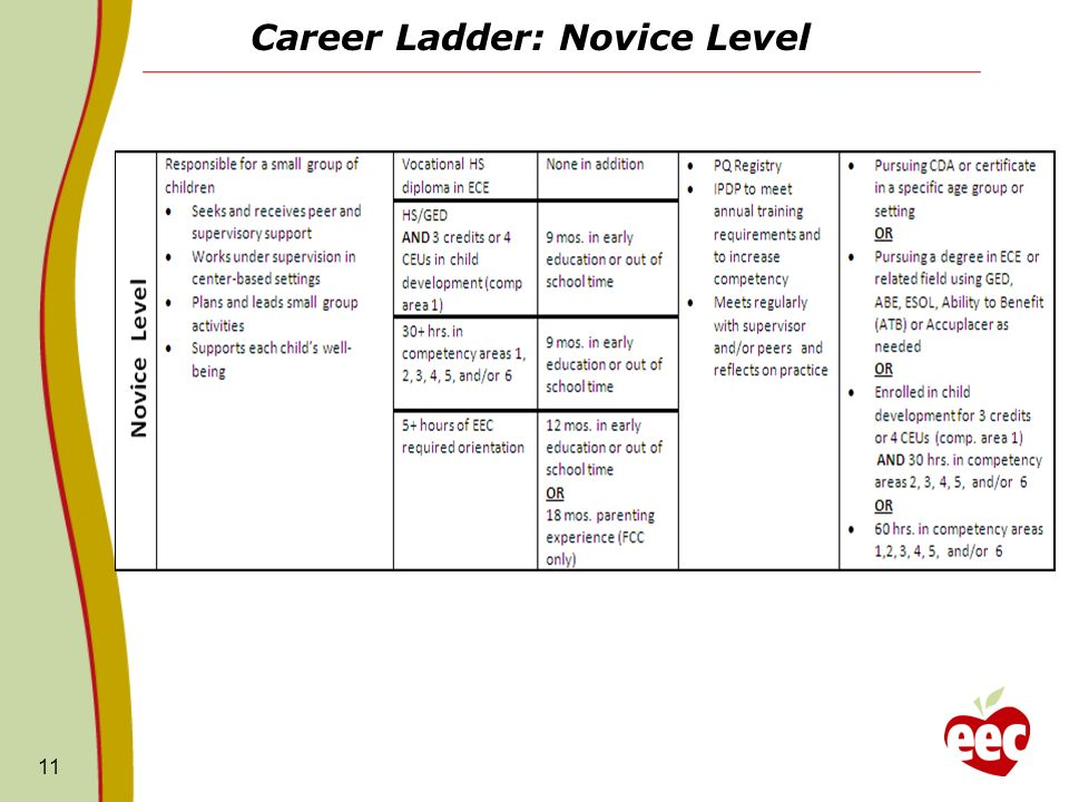 Career Ladder: Novice Level
