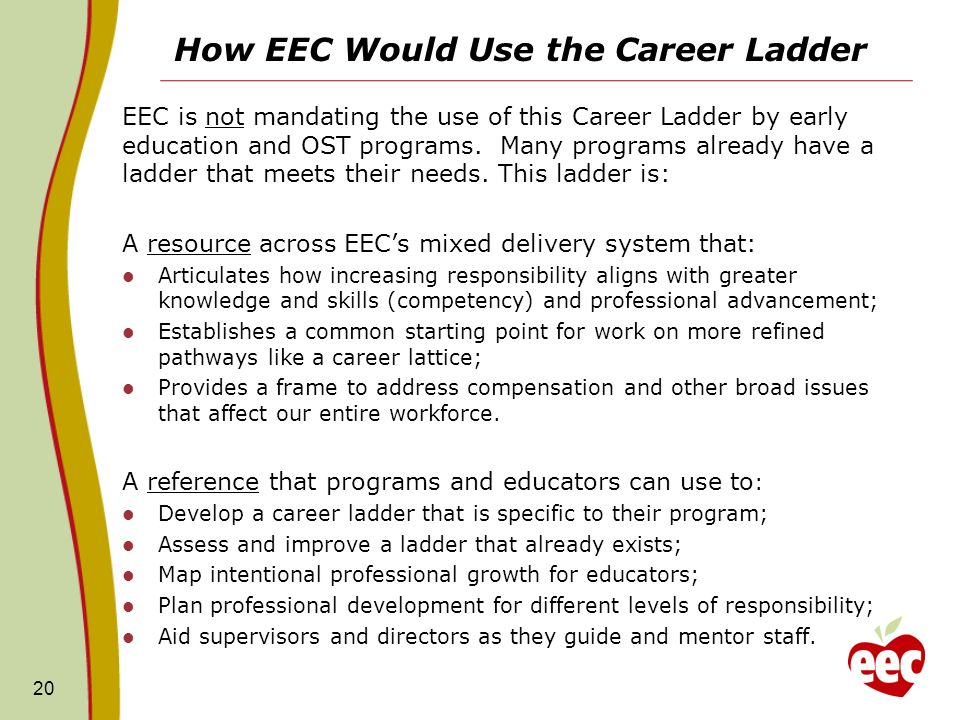How EEC Would Use the Career Ladder