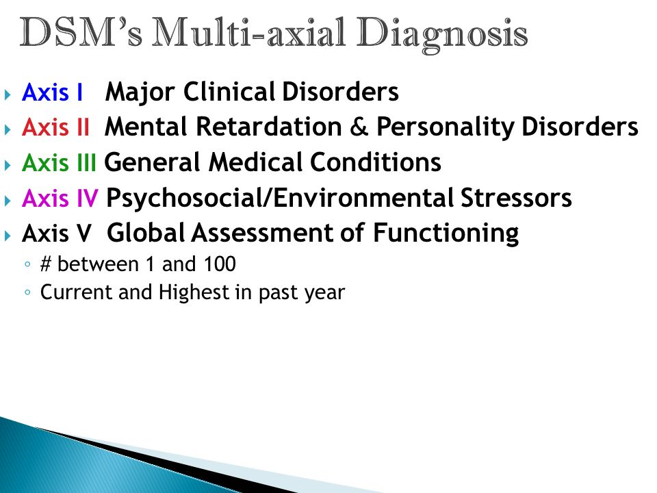 DSM's Multi-axial Diagnosis