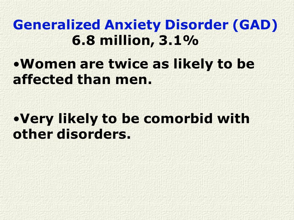 Generalized Anxiety Disorder (GAD) 6.8 million, 3.1%
