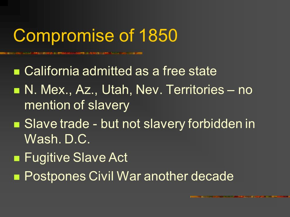 Compromise of 1850 California admitted as a free state