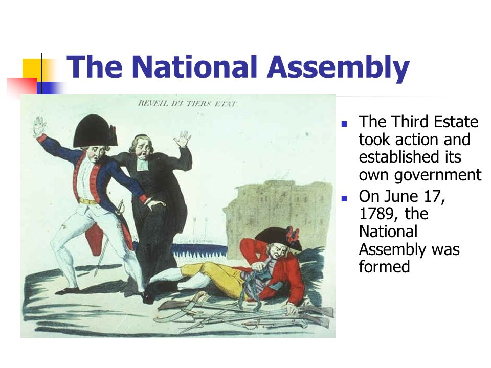 The National Assembly The Third Estate took action and established its own government. On June 17, 1789, the National Assembly was formed.