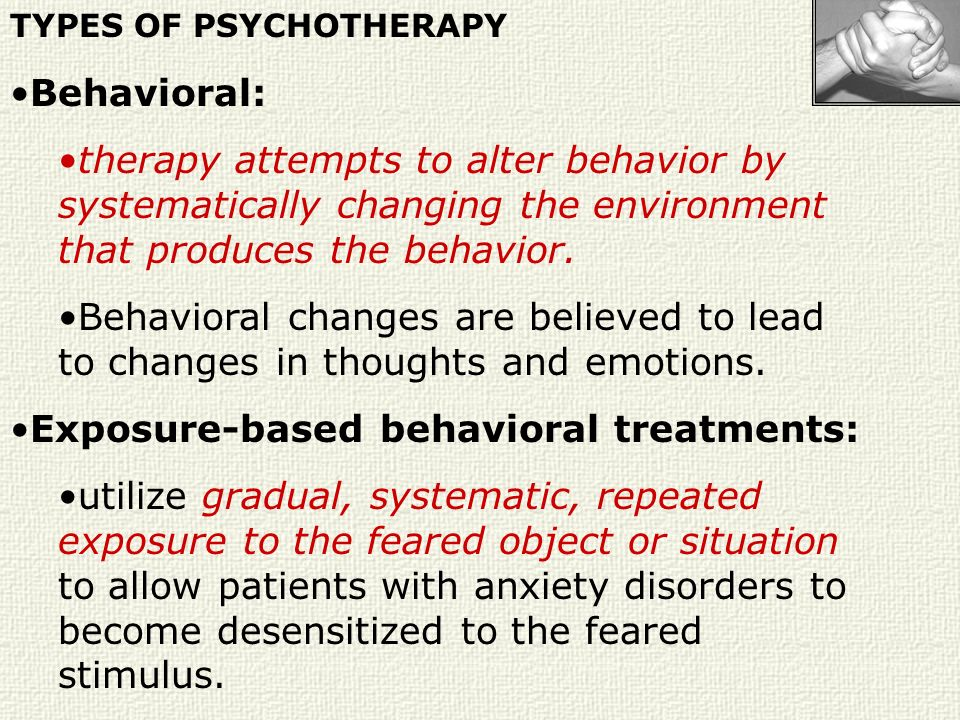 Exposure-based behavioral treatments: