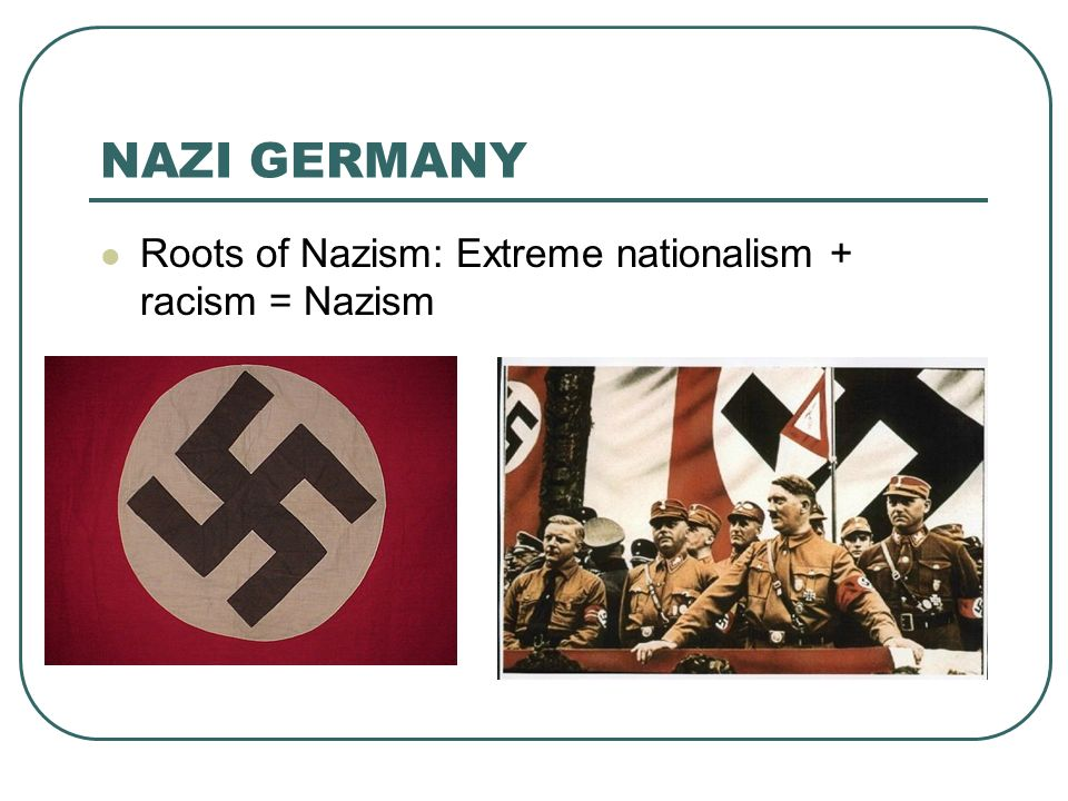 NAZI GERMANY Roots of Nazism: Extreme nationalism + racism = Nazism