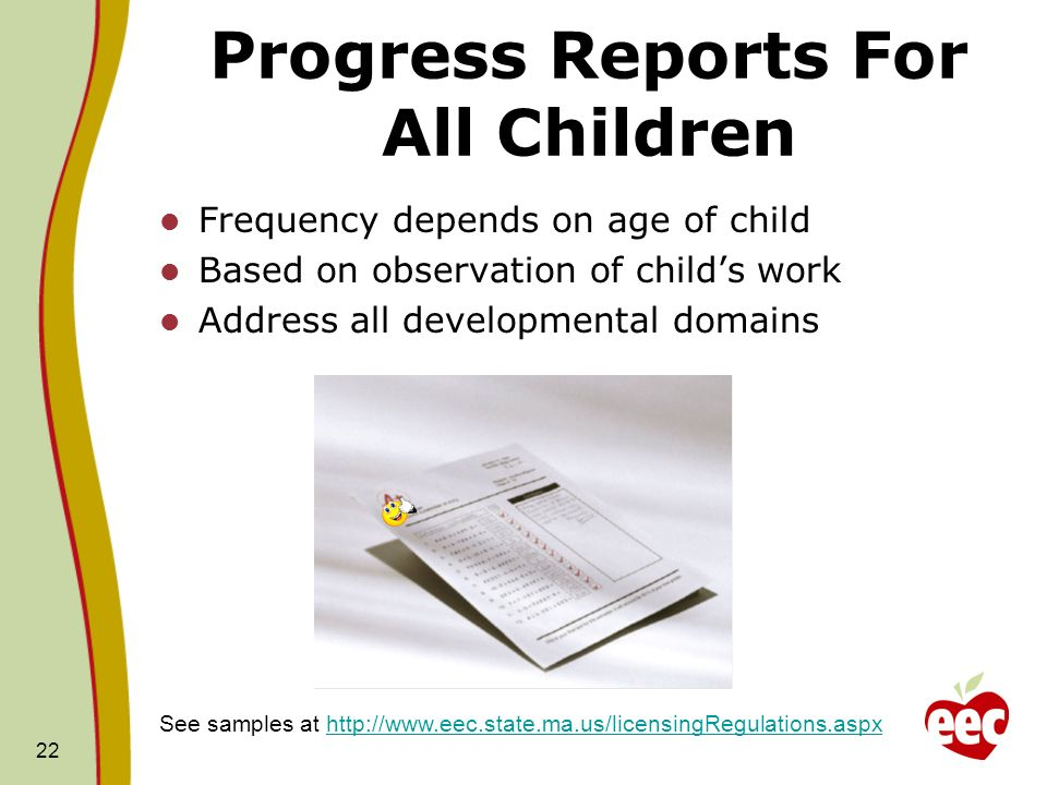 Progress Reports For All Children