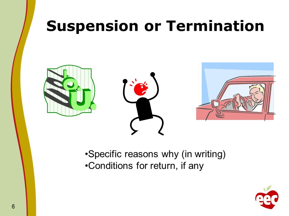 Suspension or Termination