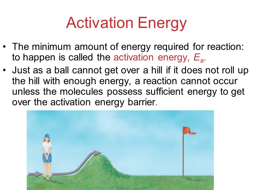 Activation Energy The minimum amount of energy required for reaction: to happen is called the activation energy, Ea.