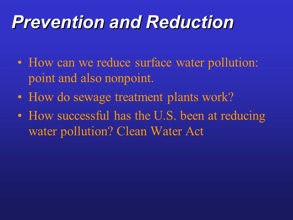Prevention and Reduction