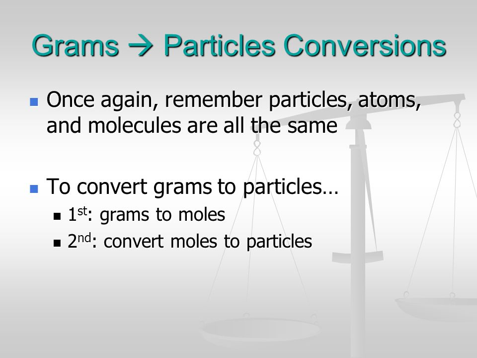 Grams  Particles Conversions