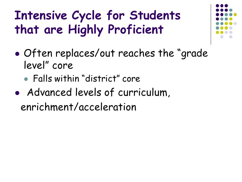 Intensive Cycle for Students that are Highly Proficient